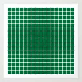 Cadmium green - green color -  White Lines Grid Pattern Art Print