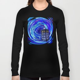Blue Phone Box with Swirls Long Sleeve T-shirt