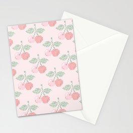 Cherry Cross Stitch Pattern on pink Stationery Cards