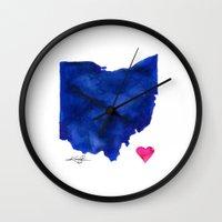 ohio Wall Clocks featuring Ohio by Kathy Morton Stanion