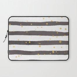 Modern gray yellow white watercolor splatters stripes Laptop Sleeve
