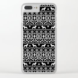 Boston Terrier fair isle dog pattern silhouette christmas sweater black and white Clear iPhone Case