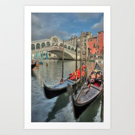 Venice Gondalos at Rialto Bridge Art Print