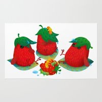 strawberry Area & Throw Rugs featuring Strawberry by DanBee Kim