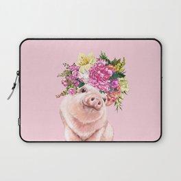 Flower Crown BB Pig in Pink Laptop Sleeve