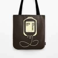 coffee Tote Bags featuring Coffee Transfusion by Tobe Fonseca
