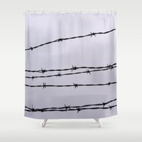 the wire Shower Curtains featuring Barbed Wire by tracy-Me