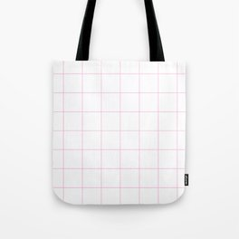 Graph Paper (Pink & White Pattern) Tote Bag
