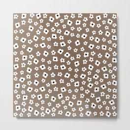 Coffee Brown White Flower Pattern Metal Print