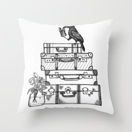 Stacked Suitcases Throw Pillow