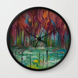 Red Trees Thick Impasto Abstract  Painting Wall Clock