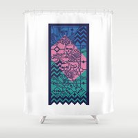 evil dead Shower Curtains featuring See no evil, hear no evil, speak no evil by Rōbsō