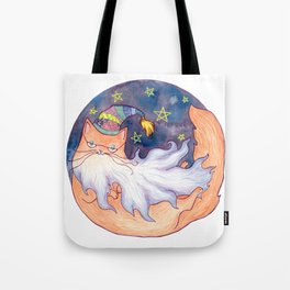 Wizard Cat with Beard Tote Bag