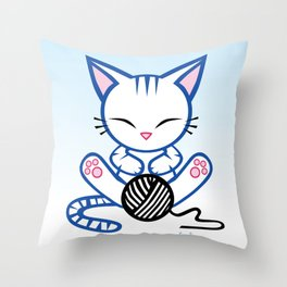 Sleepy Sunday Kitten Throw Pillow