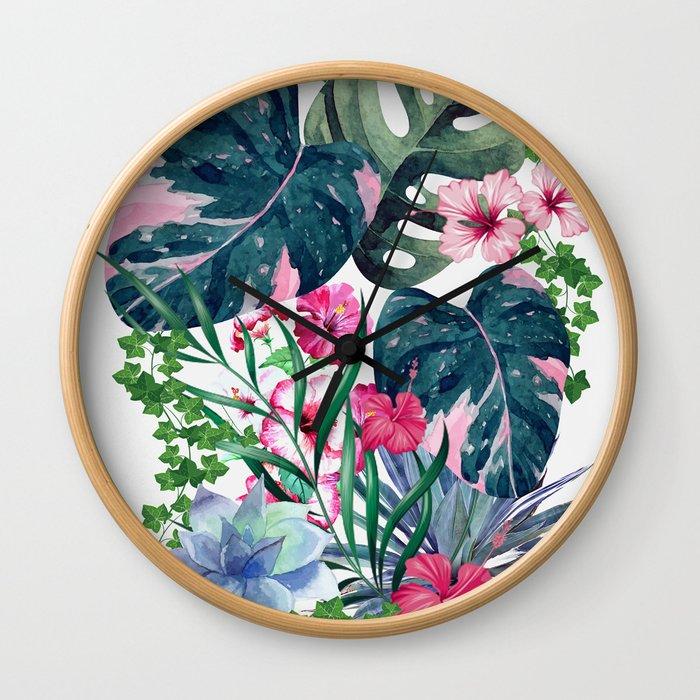 Tropical Plants Wall Clock
