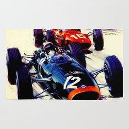 MONACO : Vintage 1967 Grand Prix Auto Racing Print Rug