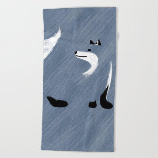 Unique Blue Fox Design Beach Towel
