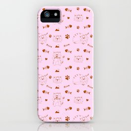 Pink Cat Pattern iPhone Case