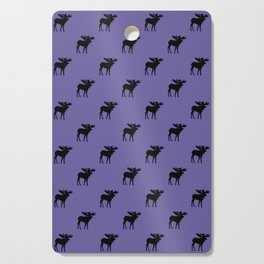 Bull Moose Silhouette - Black on Ultra Violet Cutting Board