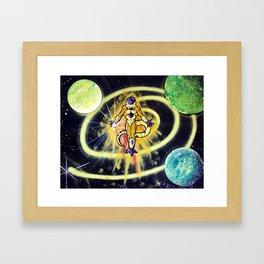 Golden Frieza Attacks! Dragonball Super Spray Painting Framed Art Print