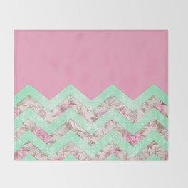 Girly Mint Green Pink Floral Block Chevron Pattern Throw Blanket