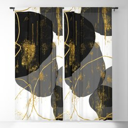Black, Gray and Gold Abstract Shapes Blackout Curtain