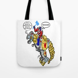 The Transformers' Optimus Prime and Grimlock...  AT A RODEO? Tote Bag