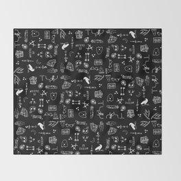 ravens doodles white Throw Blanket