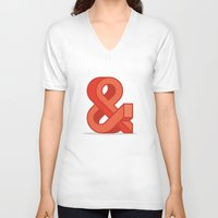 ampersand V-neck T-shirts featuring Ampersand by Damien Faivre