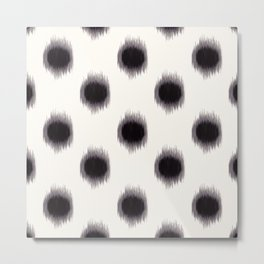 Ikat Dots Black and White Metal Print