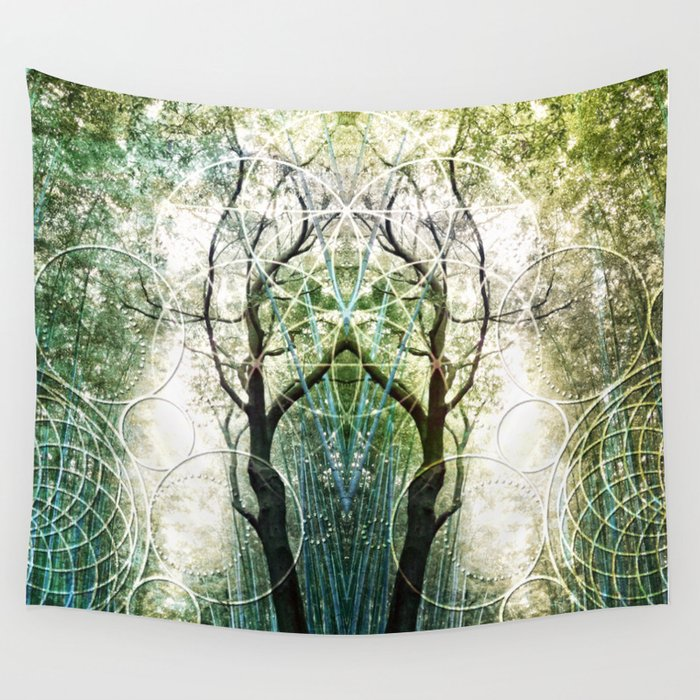 Bamboo Forest Geometry Wall Tapestry