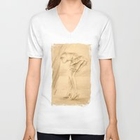 erotic V-neck T-shirts featuring Erotic - Girl in lingerie by Marita Zacharias