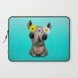 Cute Baby Rhino Hippie Laptop Sleeve