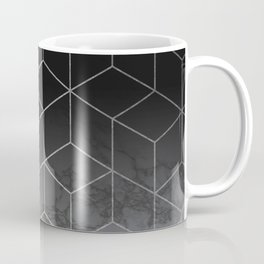 Silver Geometric Cubes Trendy White Grey Marble Coffee Mug