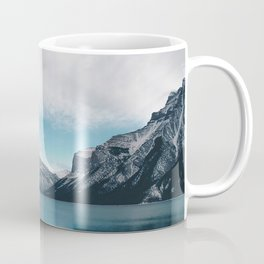 lake mountains snow lake minnewanka canada Coffee Mug