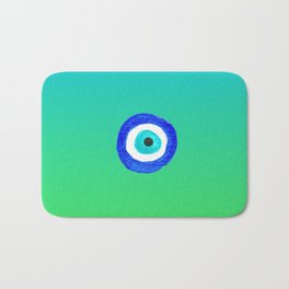 Single Evil Eye Amulet Talisman Ojo Nazar - ombre lime to tuquoise Bath Mat