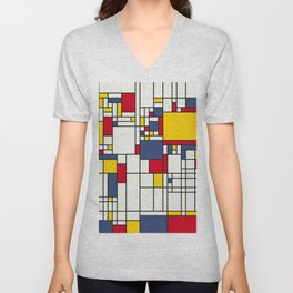 World Map Abstract Mondrian Style Unisex V-Neck