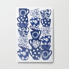 blue teacups Metal Print