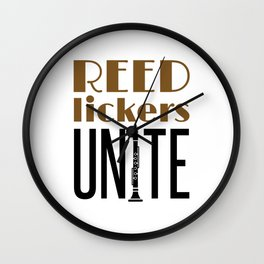 Clarinet Player Reed Lickers Unite Wall Clock