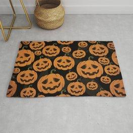 Jack O Lantern Halloween Pattern on Black Rug