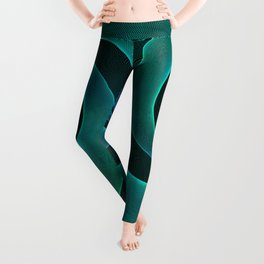 Magical Teal Green Spiral Design Leggings