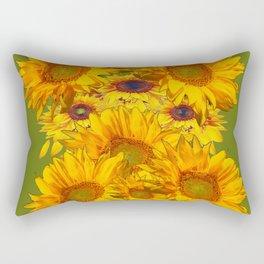 Avocado Color Sunflowers Abstract Art Rectangular Pillow