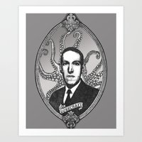 lovecraft Art Prints featuring H.P. Lovecraft by Studio Nil