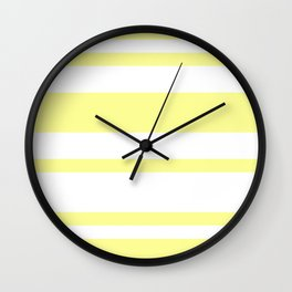 Mixed Horizontal Stripes - White and Pastel Yellow Wall Clock