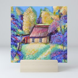 Lodge in the forest Mini Art Print