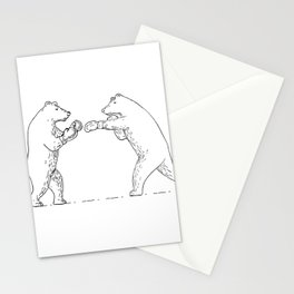 Two Grizzly Bear Boxers Boxing Drawing Stationery Cards