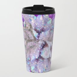 WHITE DRUZY QUARTZ & PURPLE AMETHYST CRYSTAL VIGNETTE Travel Mug