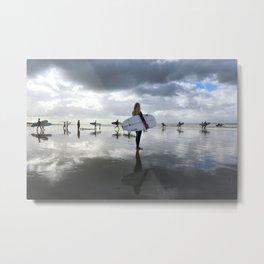 Waves Series Photograph No. 17 - Surfer's Reflection Metal Print