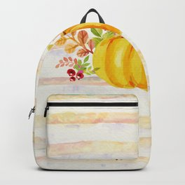 Pumpkin in Watercolor with Striped Background Backpack