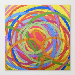 In a Spin - pink on yellow Canvas Print